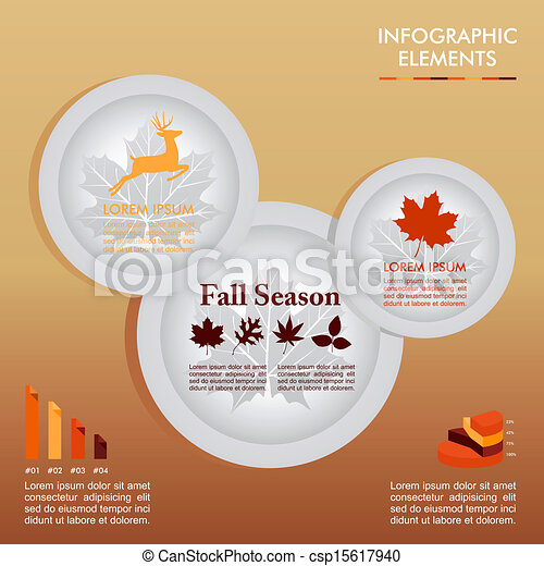 Fall season infographics illustration template. Autumn Concept plates with information graphics elements about weather and seasonal related issues. EPS10 Vector file in layers for easy editing. - csp15617940
