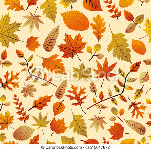 Fall season variety of tree leaves seamless pattern background. EPS vector file in layers for easy editing. - csp15617672