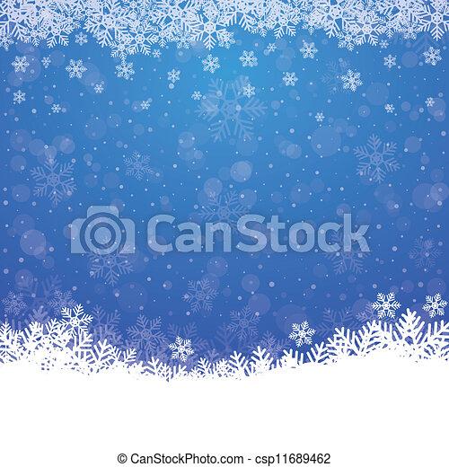 fall snow stars blue white background - csp11689462