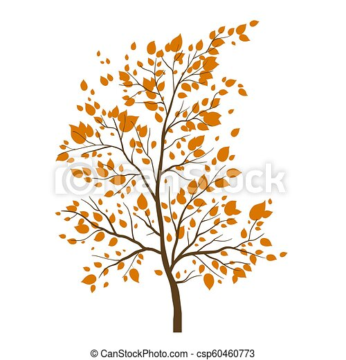 Fall Tree Icon Background With Maple Autumn Leaves Hello Autumn Card