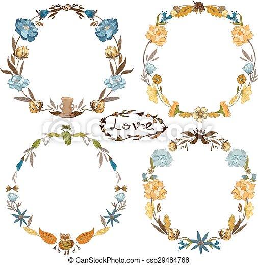 Fall Vector Wreath Set - csp29484768