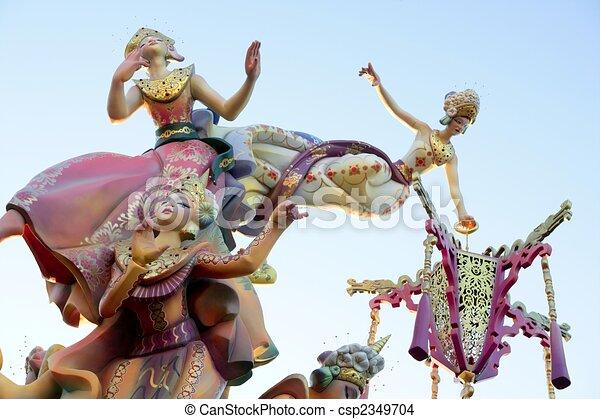 Fallas from Valencia, Spain celebration cartoon figures - csp2349704