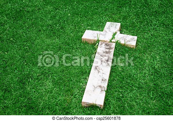 Fallen and broken down marble cross - csp25601878