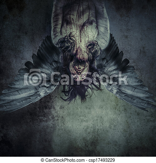 Fallen angel of death, Male model, evil, blind - csp17493229