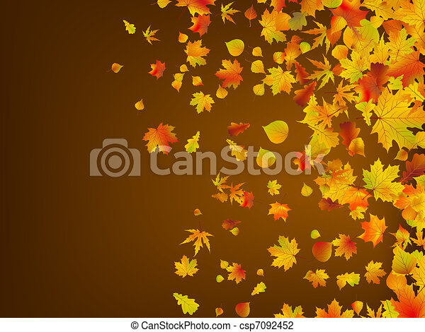 Fallen autumn leaves background. EPS 8 - csp7092452