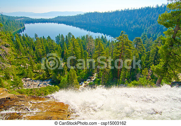 Fallen Leaf Lake with Lake Tahoe in the background - csp15003162
