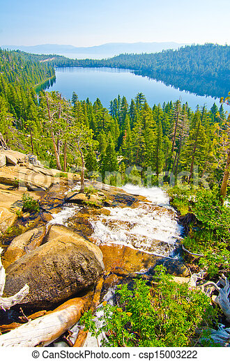 Fallen Leaf Lake with Lake Tahoe in the background - csp15003222