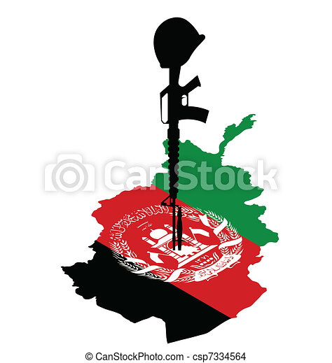 isometric map of afghanistan and rifle of fallen soldier