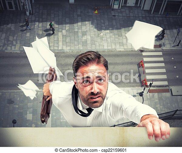 fallimento, crisi, dovuto, uomo affari - csp22159601