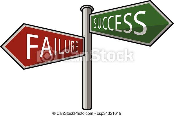 fallimento, o, successo, signpost - csp34321619