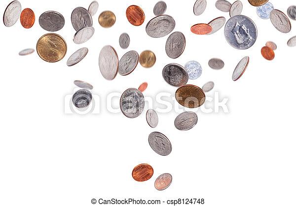 Falling American Coins - csp8124748