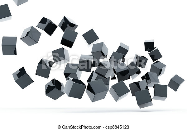 Falling and hitting gray metallic cubes on a white background - csp8845123