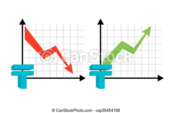 Falling and rising tenge, oil. Red down arrow. Green up arrow. Kazakhstan currency quotes reduction money. Increase of sales volumes of market for cash. Set graph for business infographic - csp35454188