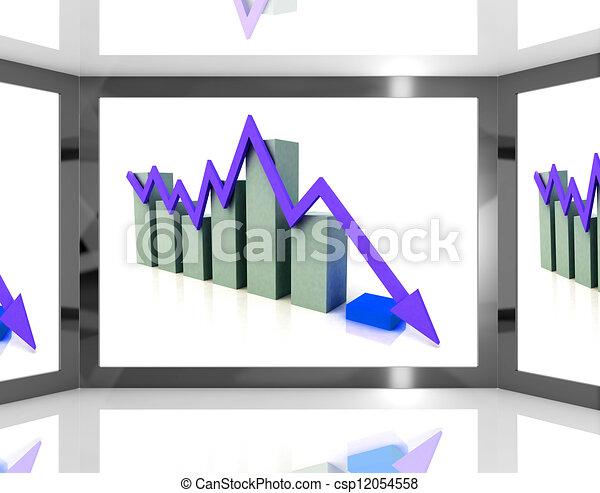 Falling Arrow On Screen Showing Decreasing Financial Chart - csp12054558