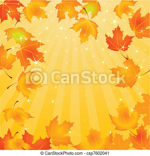 Falling Autumn Leaves background - csp7602041