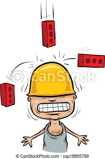 Falling Brick Accident Cartoon Bricks Falling On A Construction Worker S Hardhat