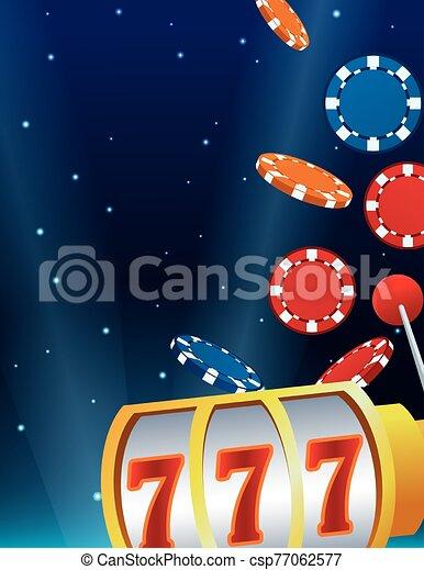 falling chips slot machine betting game gambling casino - csp77062577