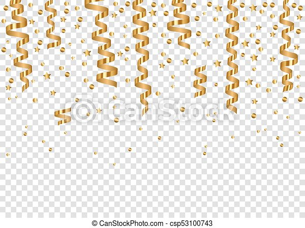 Christmas Tinsel Transparent Background.Falling Glowing Golden Confetti And Realistic Hanging Serpentine