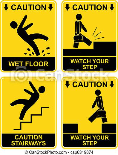 Falling man - caution sign - csp6319874