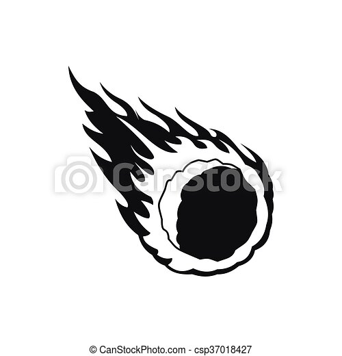Falling meteor with long tail icon, simple style. Falling ...