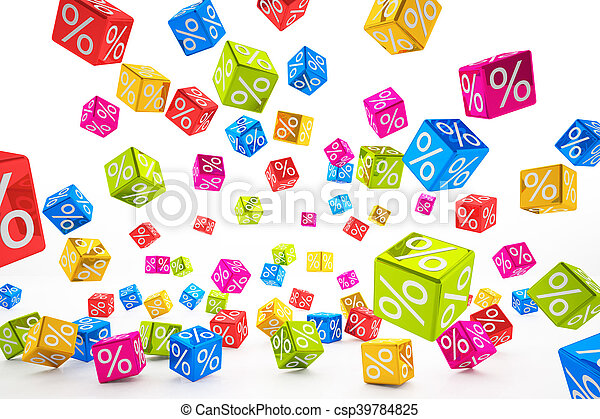 falling percent cubes - colorful - csp39784825