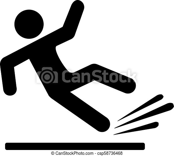 Falling person silhouette pictogram - csp58736468