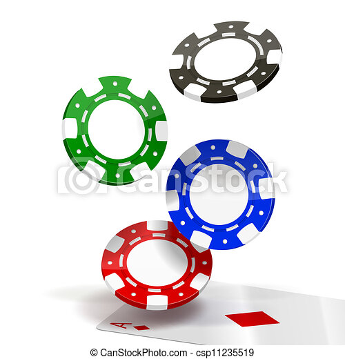 falling poker chips isolated on white vector illustration rh canstockphoto com poker chips clipart black and white poker chips vector clipart