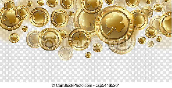 Falling Realistic Gold Coins With Shamrock Clover Trendy Style On Transparent Background Design And Flat Hipster Graphic Template