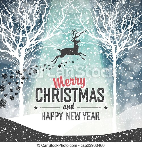 Falling Snow. Merry Christmas Background with Text - csp23903460