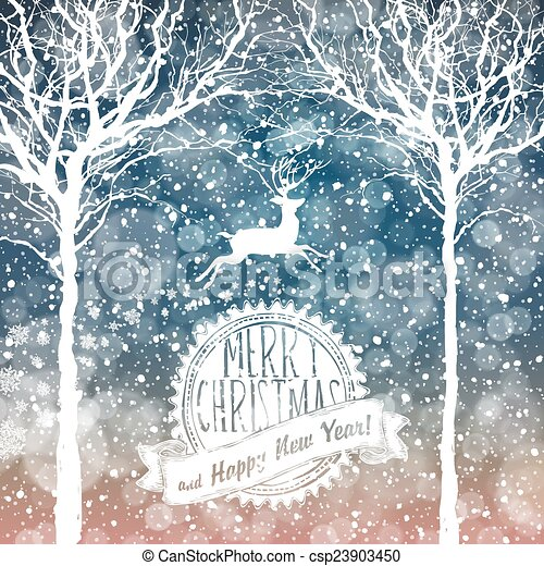 Falling Snow. Merry Christmas Background with Text - csp23903450