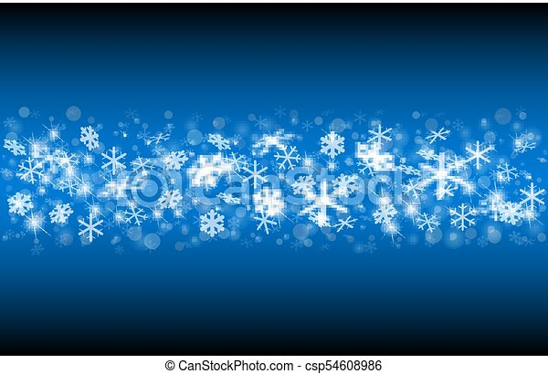 Falling snow on a blue background. - csp54608986