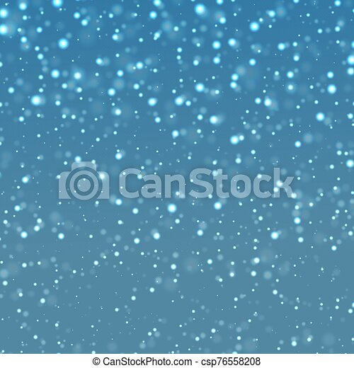 falling snow on a blue background - csp76558208