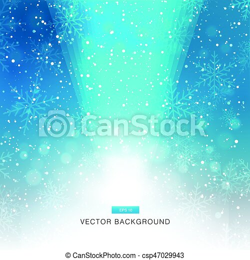 falling snow on the blue background with light - csp47029943