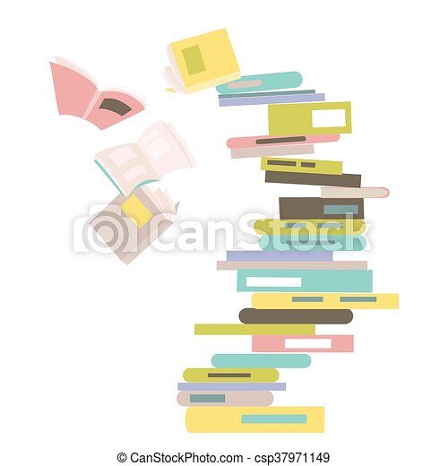 Falling stack of books - csp37971149