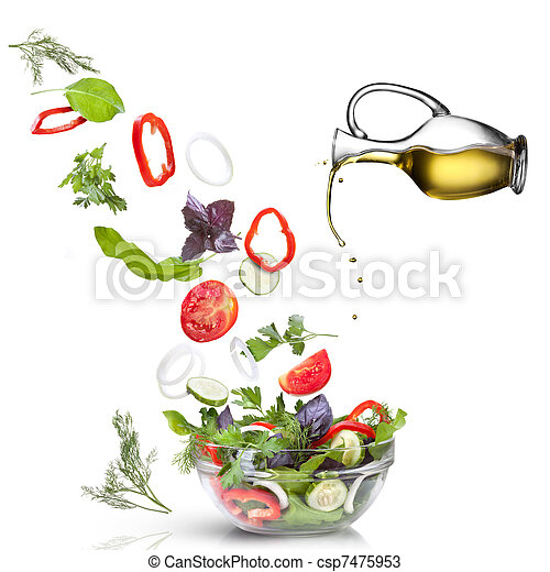 Falling vegetables for salad and oil isolated on white  - csp7475953