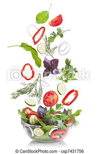 Falling vegetables for salad isolated on white - csp7431756