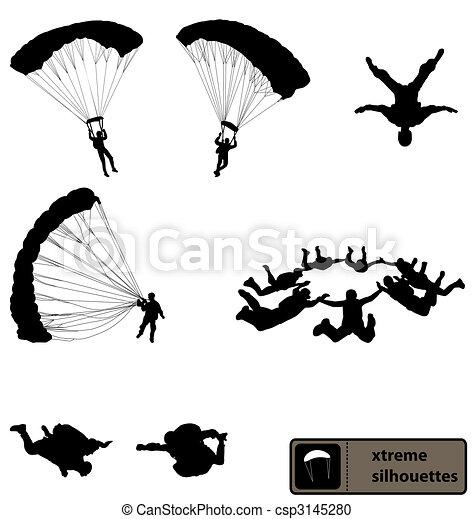 fallschirmspringen, silhouetten, sammlung - csp3145280
