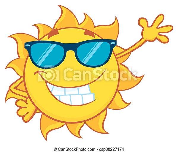 falować, słońce, uśmiechanie się, sunglasses - csp38227174