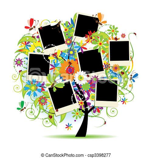 família, album., photos., árvore, floral, bordas, seu - csp3398277