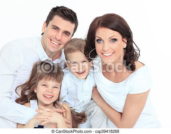 família, cama, seu, lar, mentindo - csp39418268