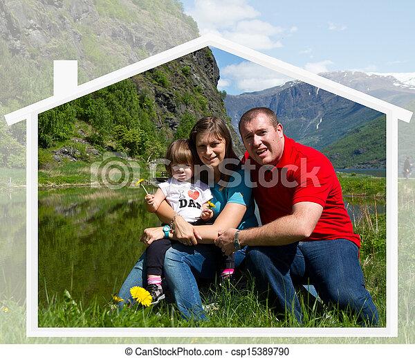 família, natureza, junto, tempo, spends, feliz - csp15389790