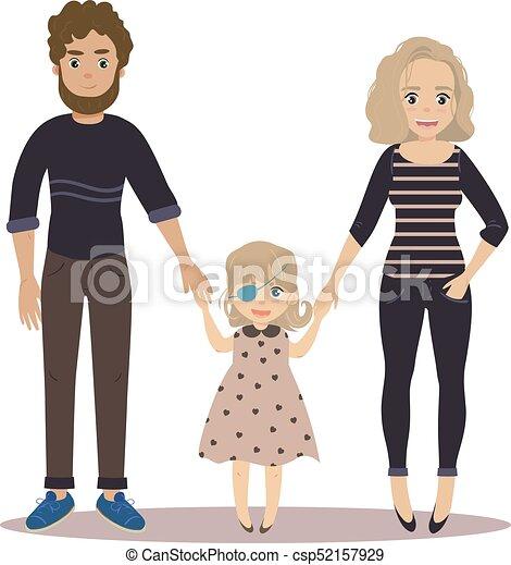 famiglia, coppia, invalido, girl., bambino, felice - csp52157929