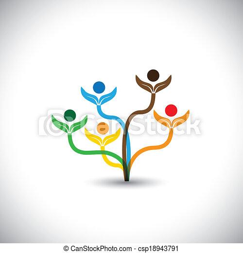 famiglia, eco, -, concept., albero, vettore, lavoro squadra, icona - csp18943791