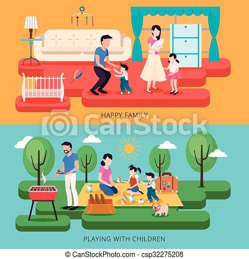famiglia felice, illustrazione, tempo - csp32275208