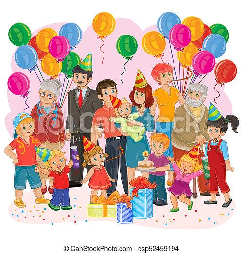 abbastanza Famiglia, grande, insieme, regali compleanno, torta, palloni LW06