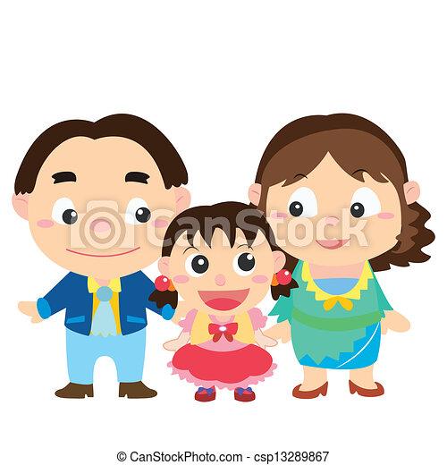 famiglia, illustrazione, carino, bianco - csp13289867