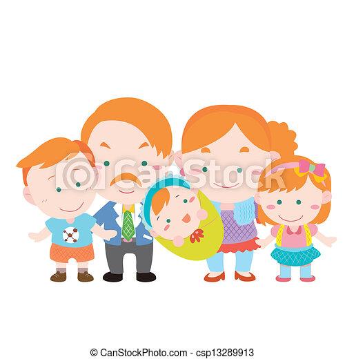 famiglia, illustrazione, carino, bianco - csp13289913