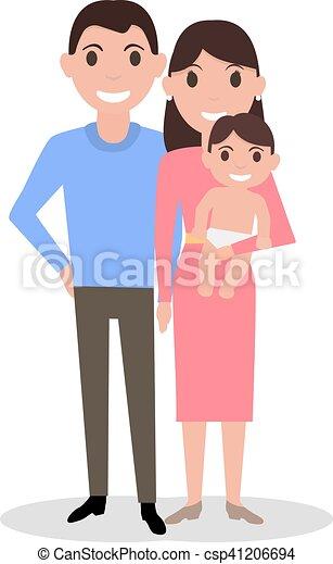 Famiglia neonato caro genitori bambino cartone animato