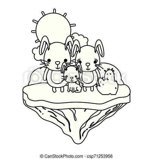 El animal de la familia en la isla flotante - csp71253956