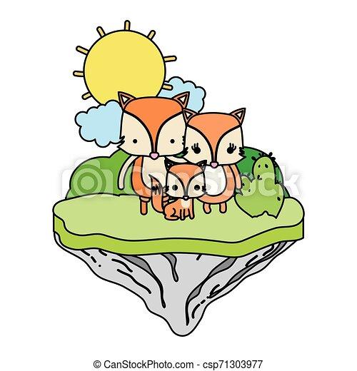 Color familiar zorro animal en la isla flotante - csp71303977